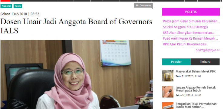 Dosen Unair Jadi Anggota Board of Governors IALS