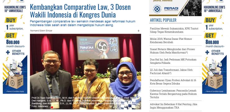 Kembangkan Comparative Law, 3 Dosen Wakili Indonesia di Kongres Dunia